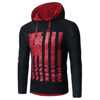 Distressed American Flag Print T-shirt - RED WITH BLACK RED/BLACK