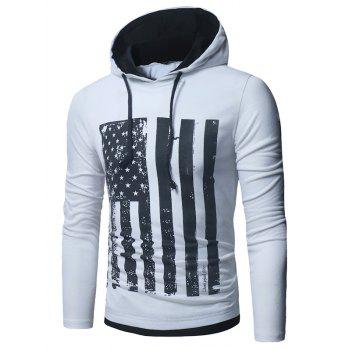Distressed American Flag Print T-shirt - WHITE WHITE