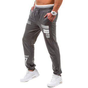 Graphic Geometric Print Jogger Pants - DEEP GRAY XL