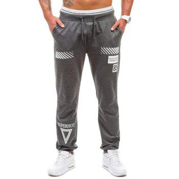Graphic Geometric Print Jogger Pants - DEEP GRAY DEEP GRAY