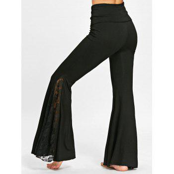 Lace Insert High Waisted Flare Pants - BLACK M