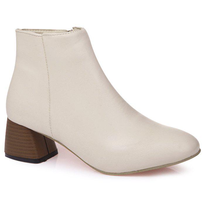 Stacked Heel Almond Toe Side Zip Ankle Boots almond toe block heeled ankle boots