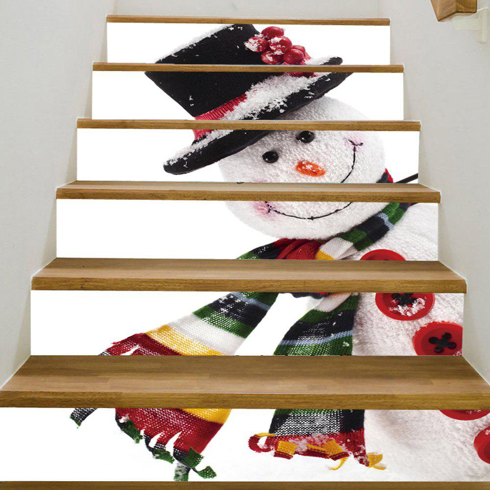 Christmas Snowman Pattern Stair Stickers christmas snowman pattern door stickers