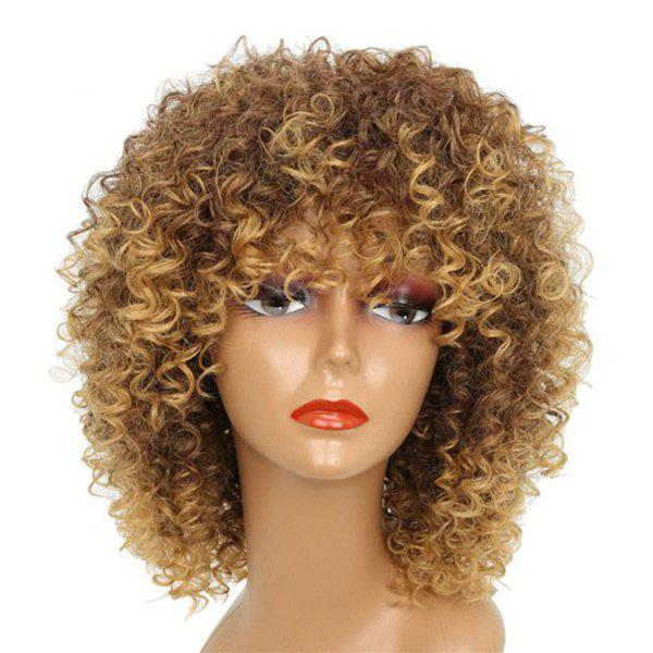 Medium Full Bang Shaggy Afro Kinky Curly Synthetic Wig - BROWN