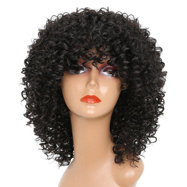Medium Full Bang Shaggy Afro Kinky Curly Synthetic Wig - BLACK