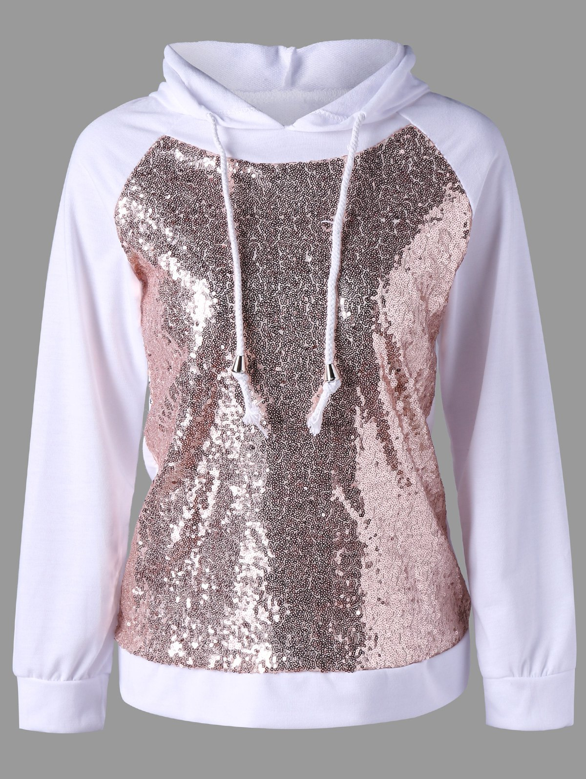 Raglan Sleeve Sequined Sparkly Hoodie - WHITE XL