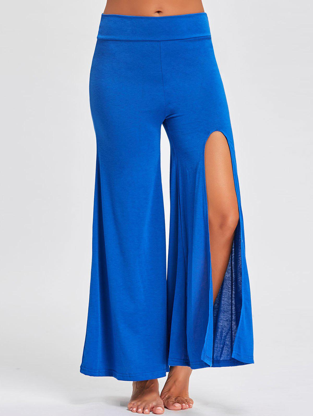 Flare High Split Palazzo Pants - BLUE S