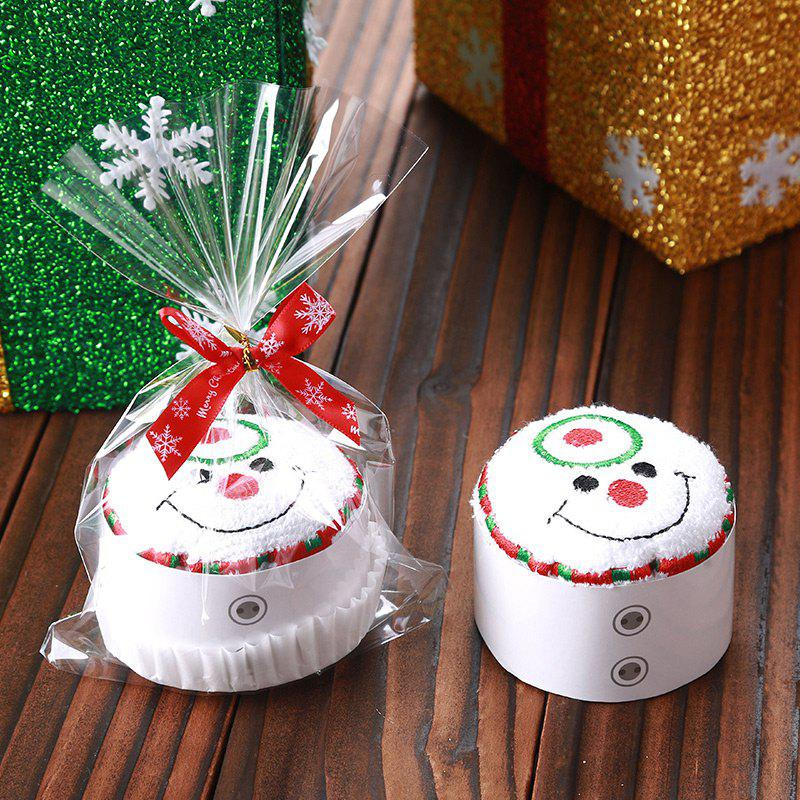 Christmas Santa Tree Snowman Shape Cupcake Towel - WHITE