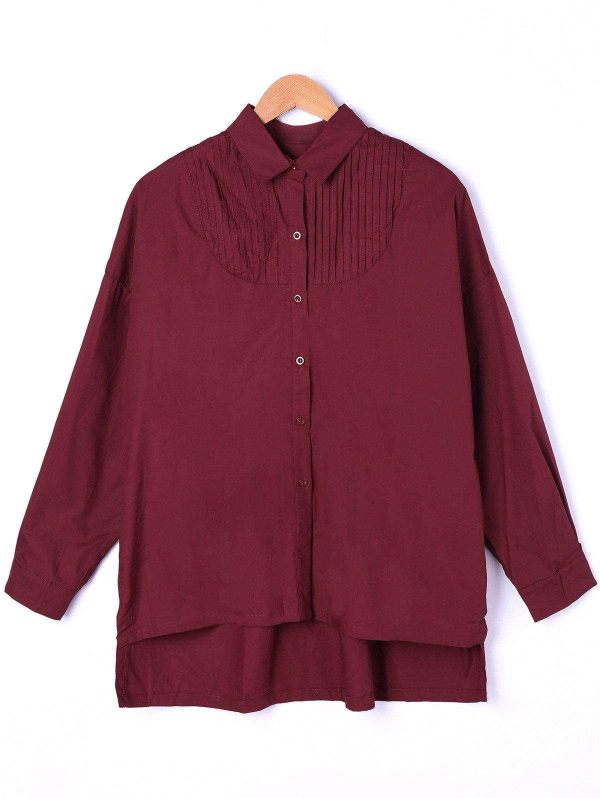 Pintuck High Low Shirt - WINE RED ONE SIZE
