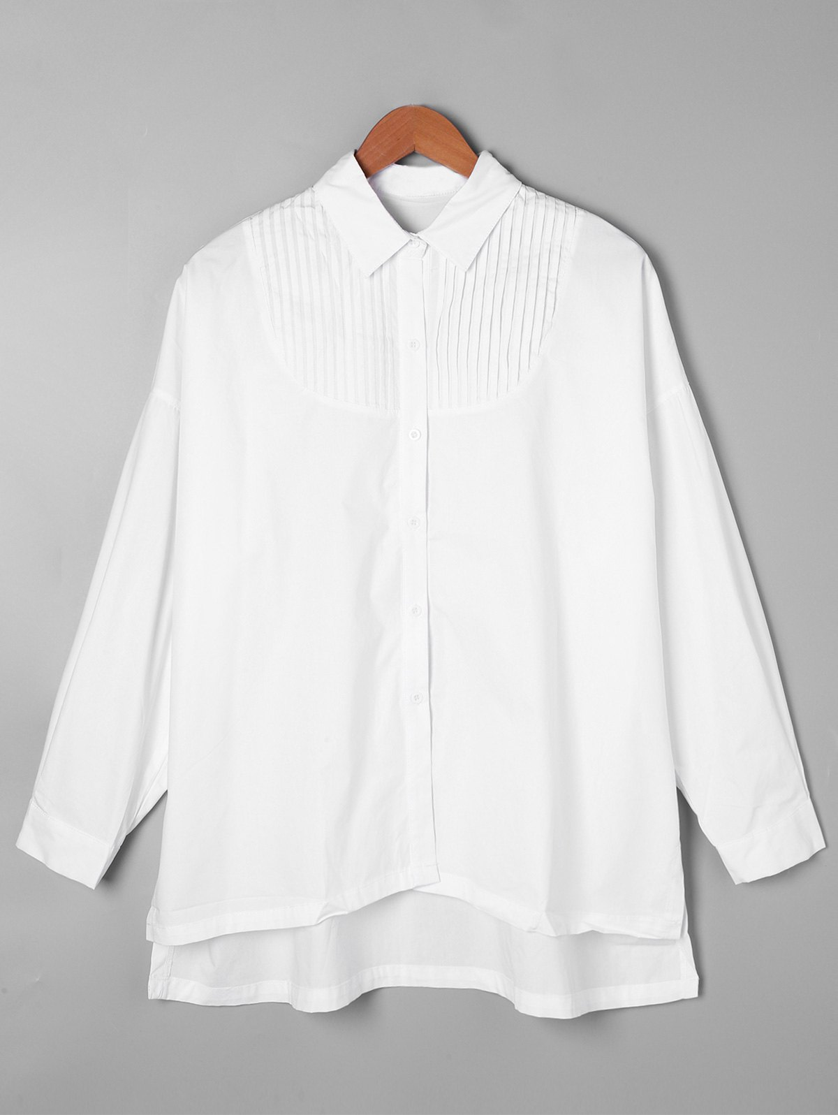 Pintuck High Low Shirt - WHITE ONE SIZE