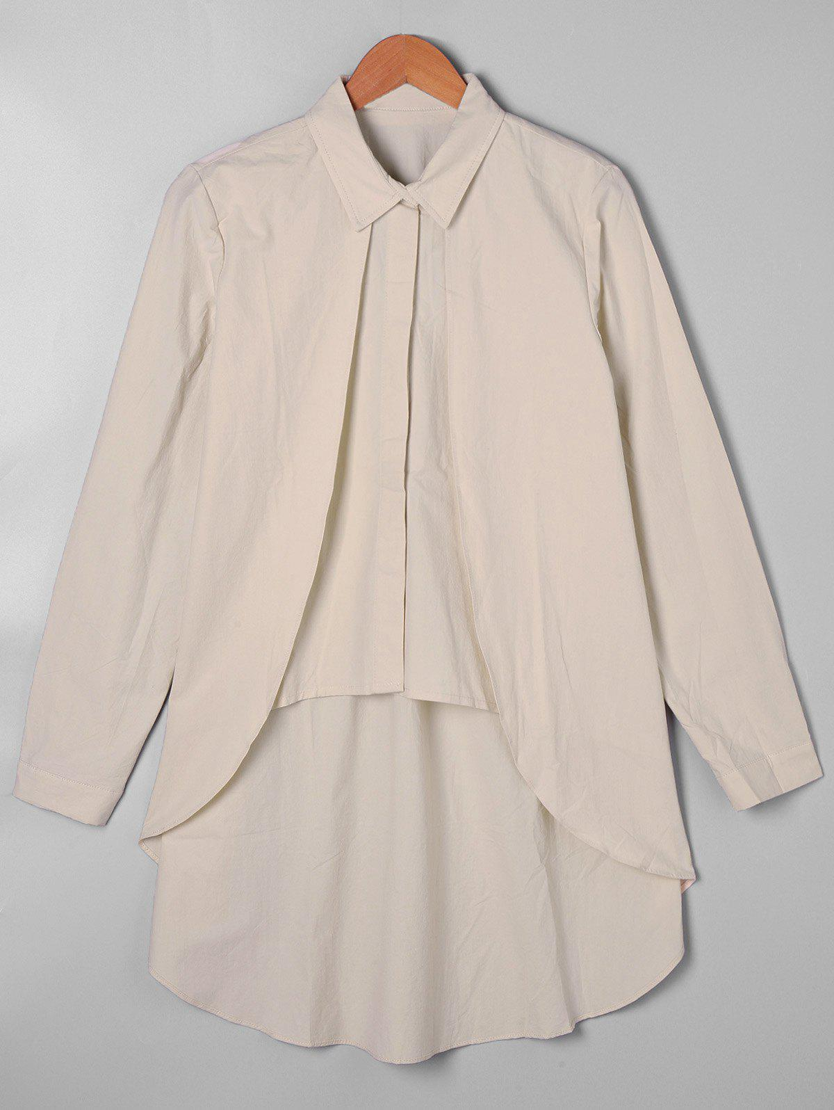 Overlay High Low Hem Shirt - APRICOT ONE SIZE