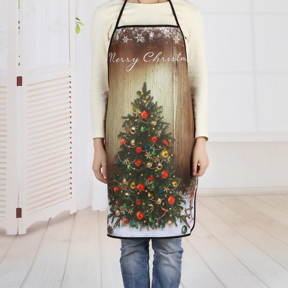 Wood Grain Christmas Tree Printed Polyester Waterproof Apron - COLORMIX 80*70CM