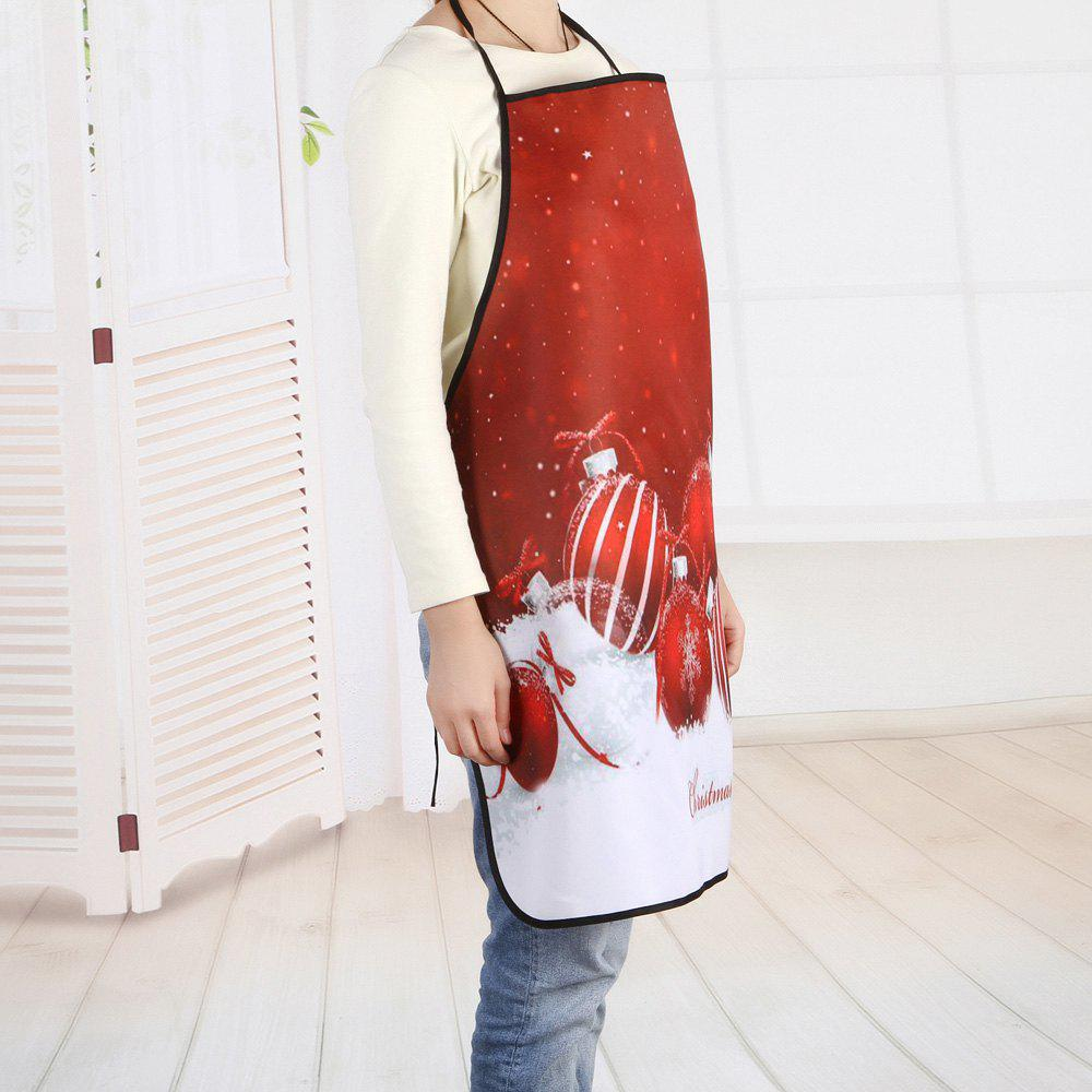 Christmas Balls Printed Waterproof Polyester Cooking Apron - RED 80*70CM