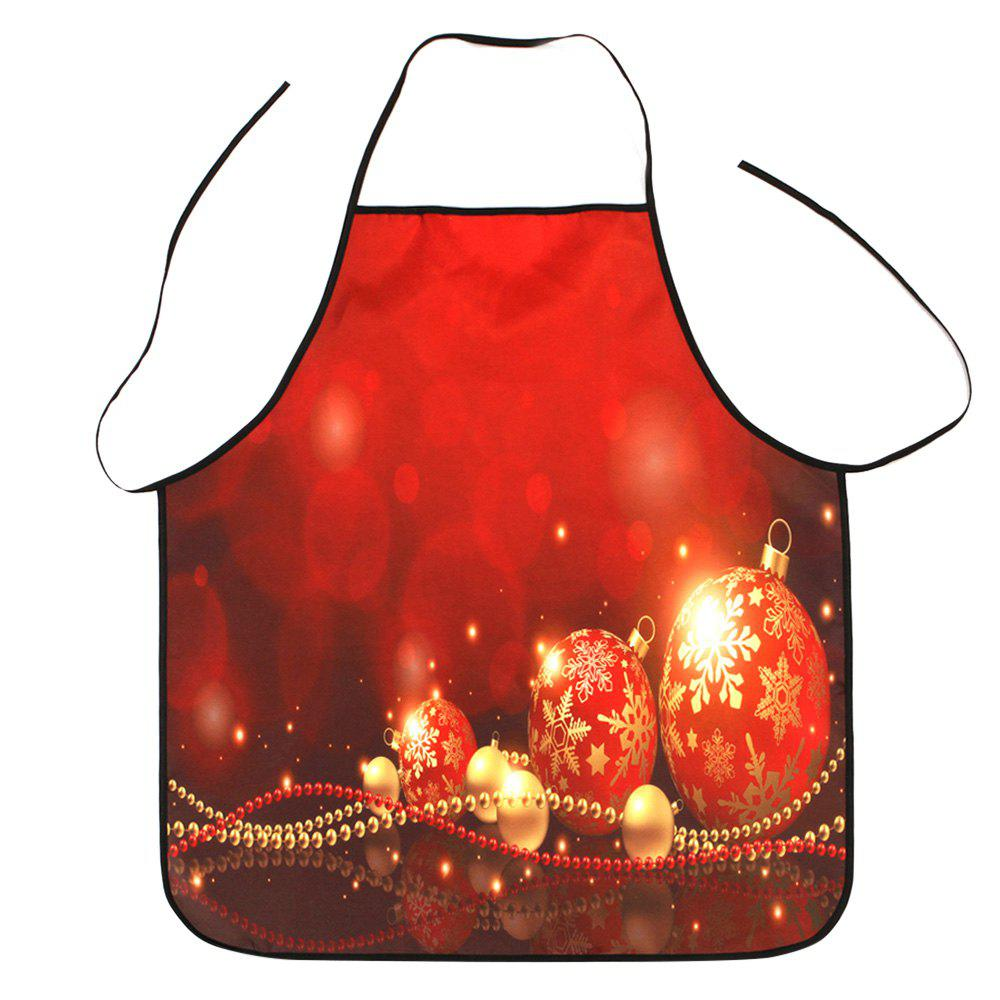 Christmas Balls Print Polyester Waterproof Apron - RED 80*70CM