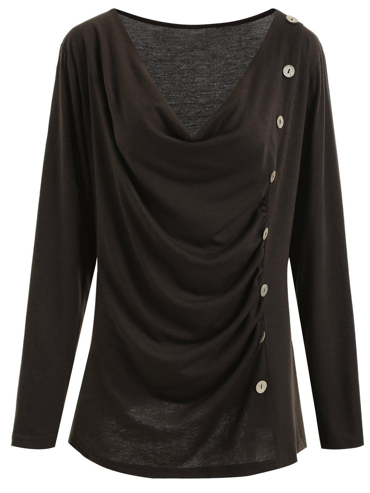 Cowl Neck Button Embellished Plus Size T-shirt plus size cowl neck zip pocket t shirt