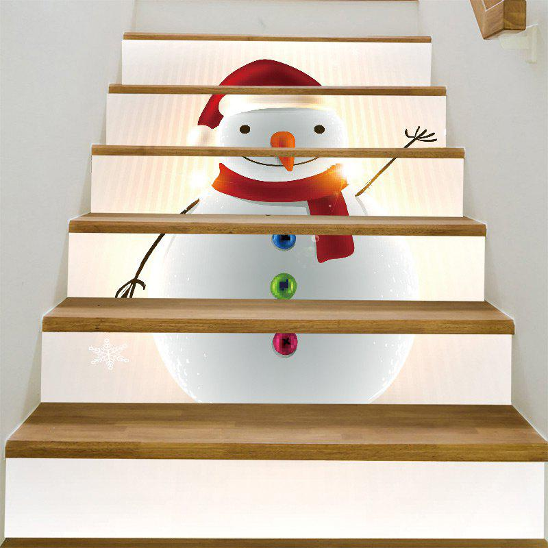 Chubby Christmas Snowman Baubles Pattern Stair Stickers christmas snowman pattern door stickers