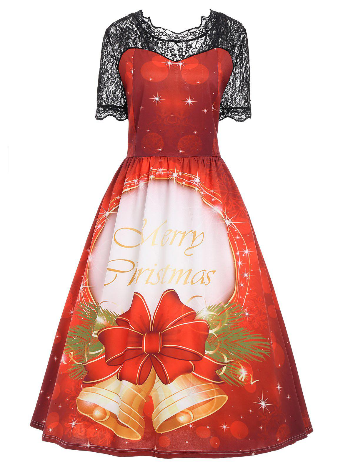Christmas Bell Lace Panel Plus Size Vintage Dress - RED 5XL