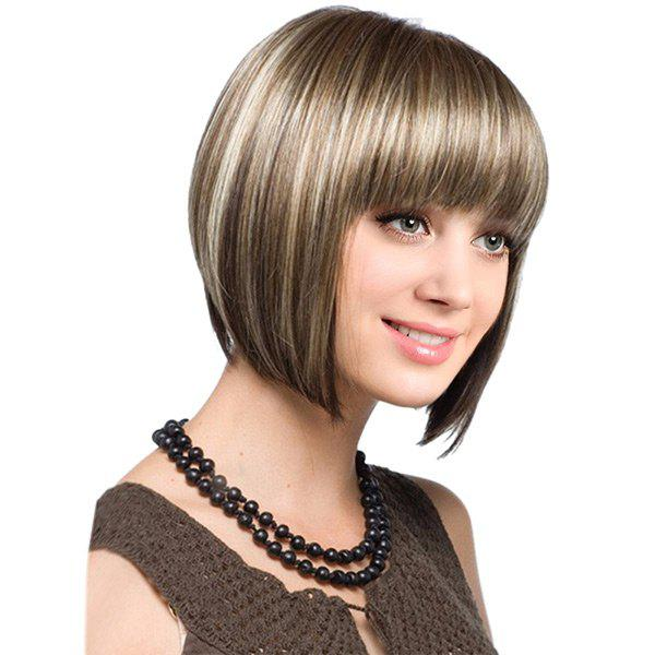Full Bang Short Colormix Straight Bob Synthetic Wig - COFFEE/GOLDEN
