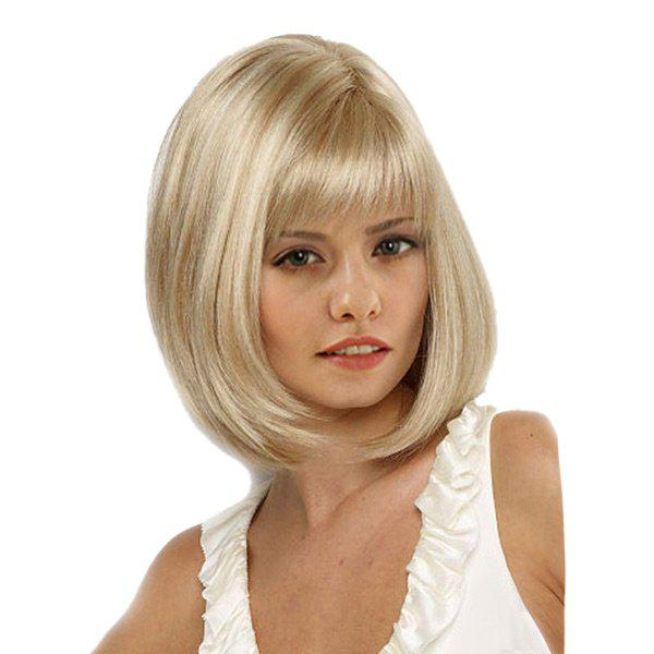 Medium Neat Bang Straight Bob Synthetic Wig - GOLDEN