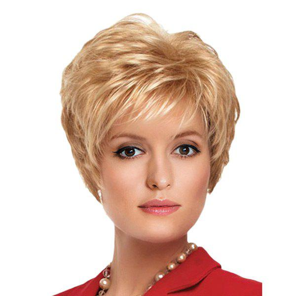 Short Oblique Bang Fluffy Slightly Curly Synthetic Wig - CITRUS