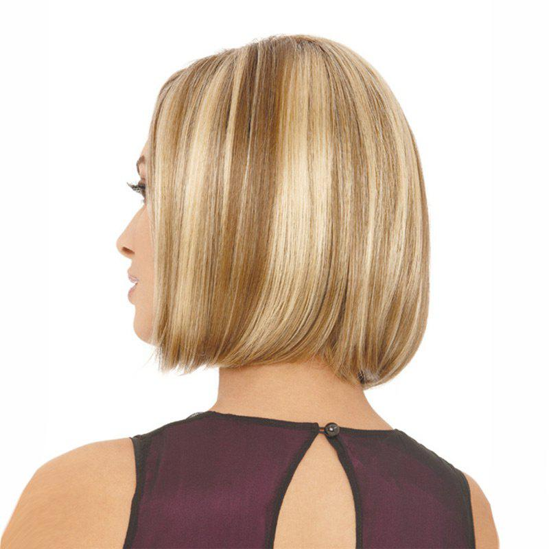 Short Side Parting Straight Bob Colormix Synthetic Wig - GOLDEN