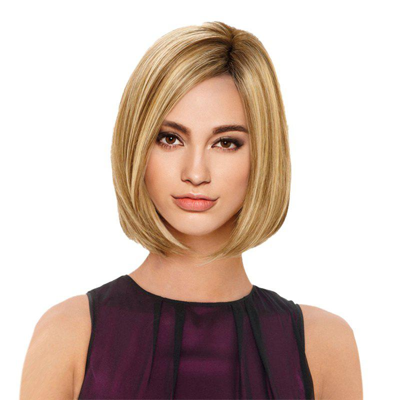 Short Side Parting Straight Bob Colormix Synthetic Wig long side parting straight colormix synthetic lace front wig