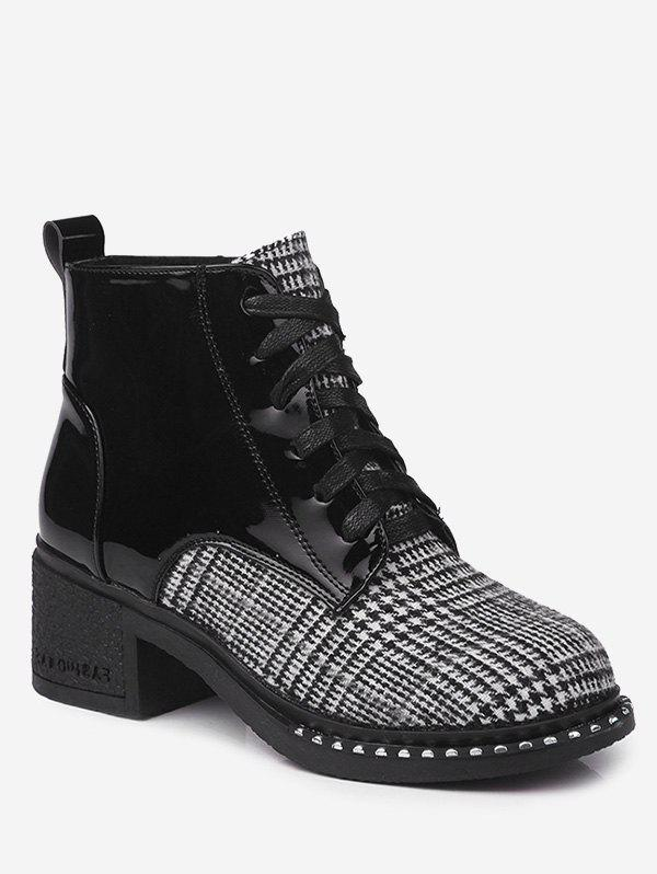 Mid Heel Plaid Rivets Boots - BLACK WHITE 35