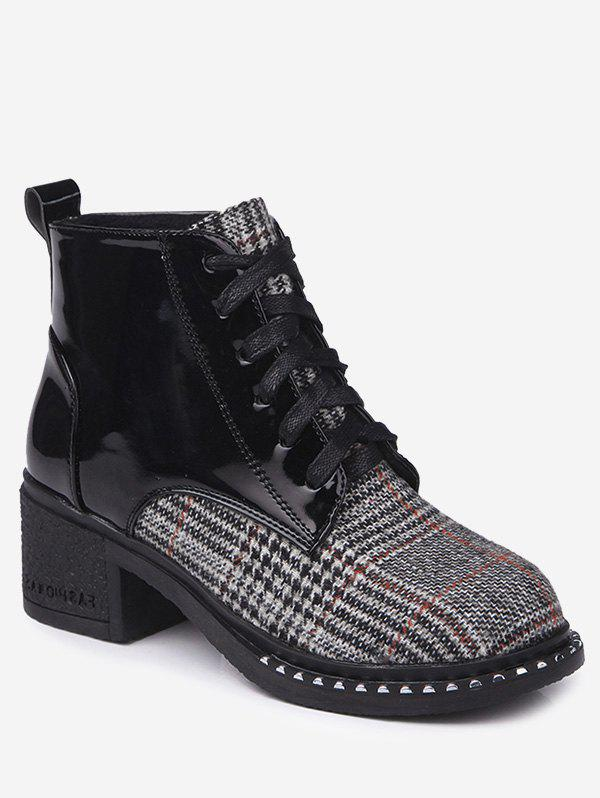 Mid Heel Plaid Rivets Boots