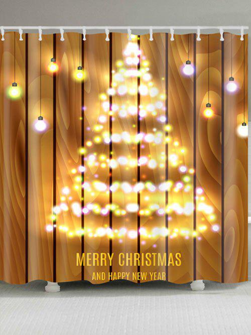 Neon Christmas Tree Print Waterproof Polyester Shower Curtain christmas tree letter print waterproof shower curtain