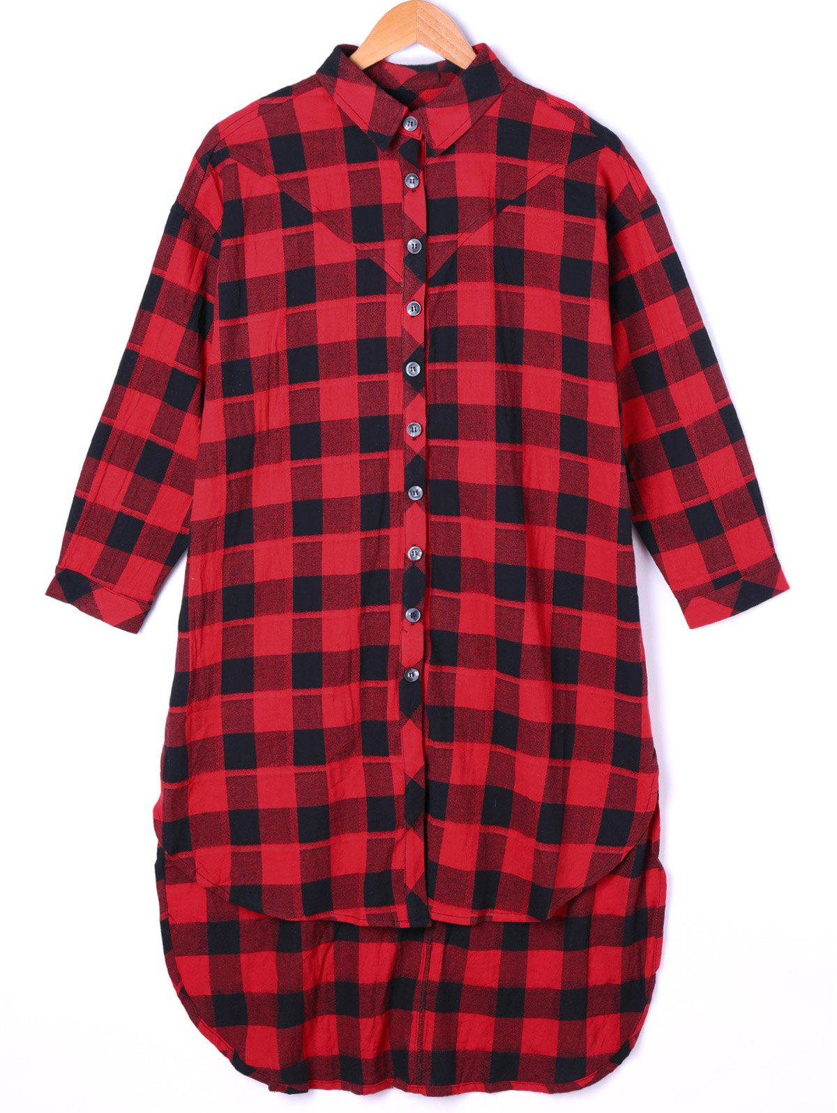 Dip Hem Plaid Longline Shirt - BLACK RED ONE SIZE