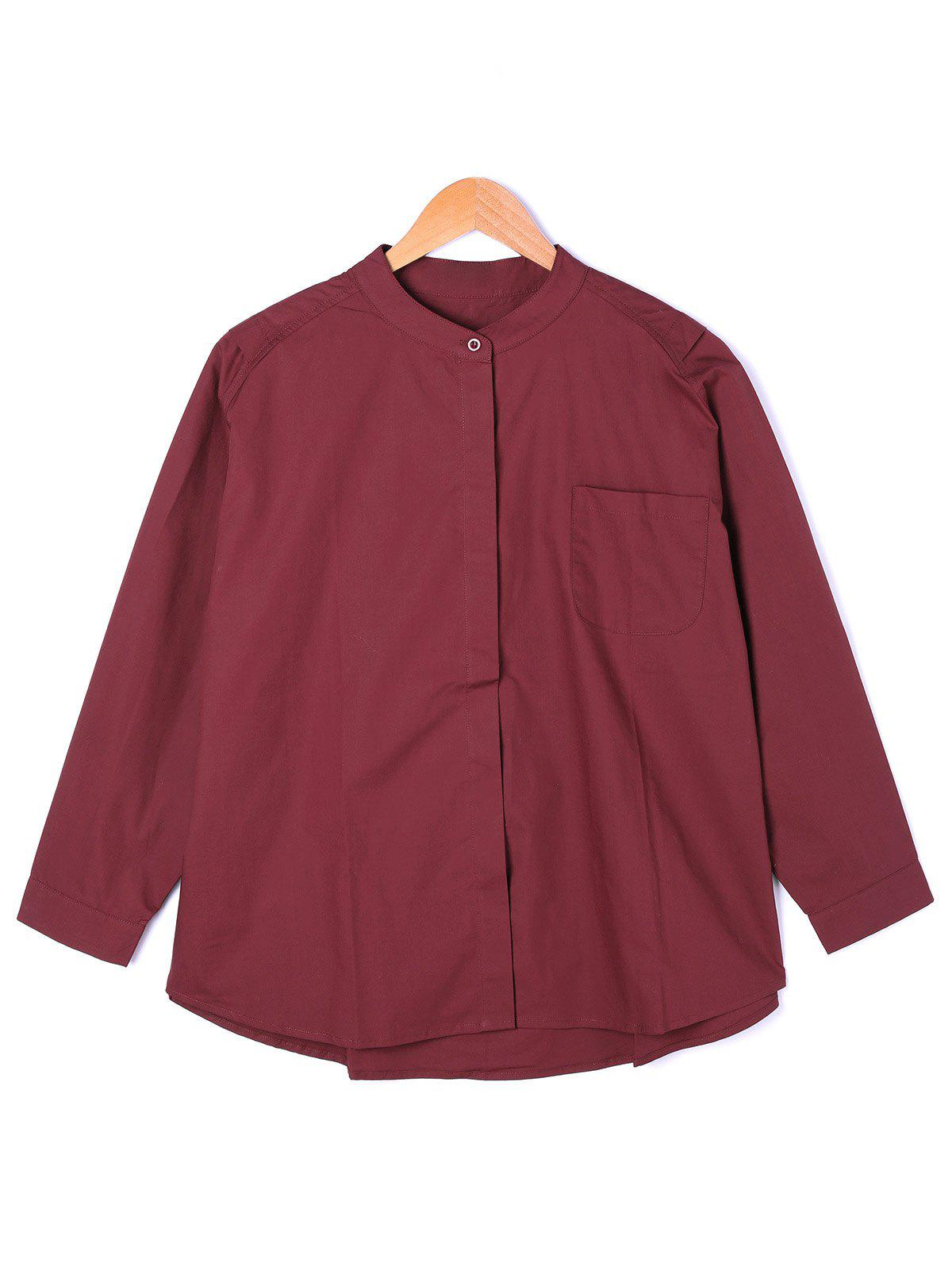 One Pocket Wide Waist Shirt - RED ONE SIZE