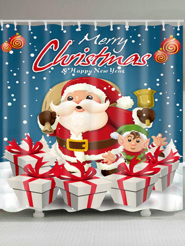 Santa Claus Christmas Gift Printed Waterproof Bath Curtain