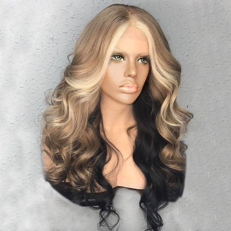 Long Center Parting Fluffy Wavy Colormix Synthetic Wig long center parting layered wavy synthetic party wig