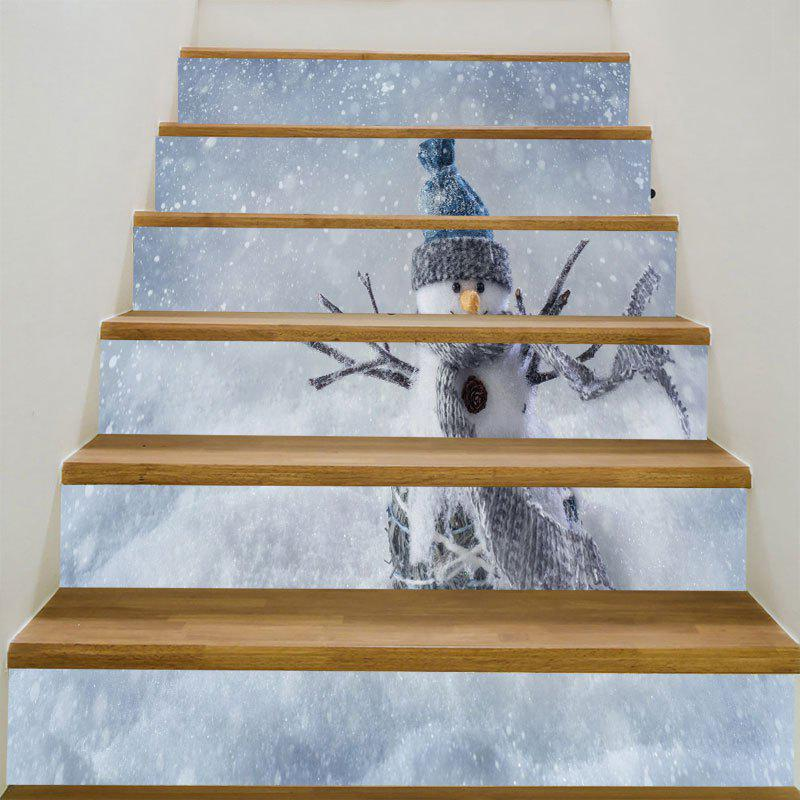Removable Snows and Snowman Pattern DIY Stair Stickers spot light background snowman printed removable stair stickers