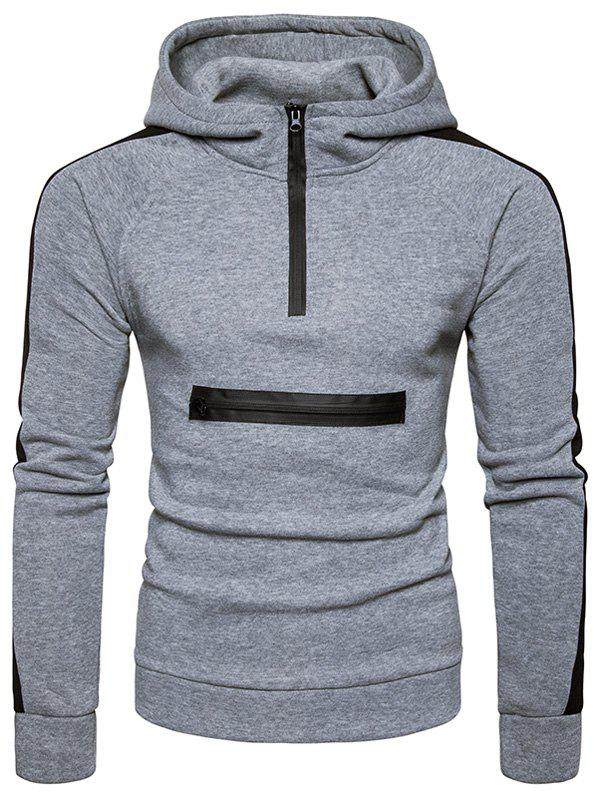 Color Block Zippers Fleece Pullover Hoodie - LIGHT GRAY L