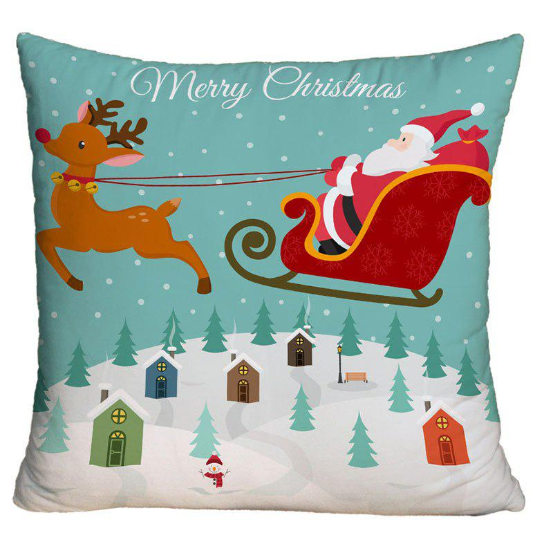 Christmas Sled Santa Claus Print Decorative Throw Pillow Case - COLORMIX W18 INCH * L18 INCH