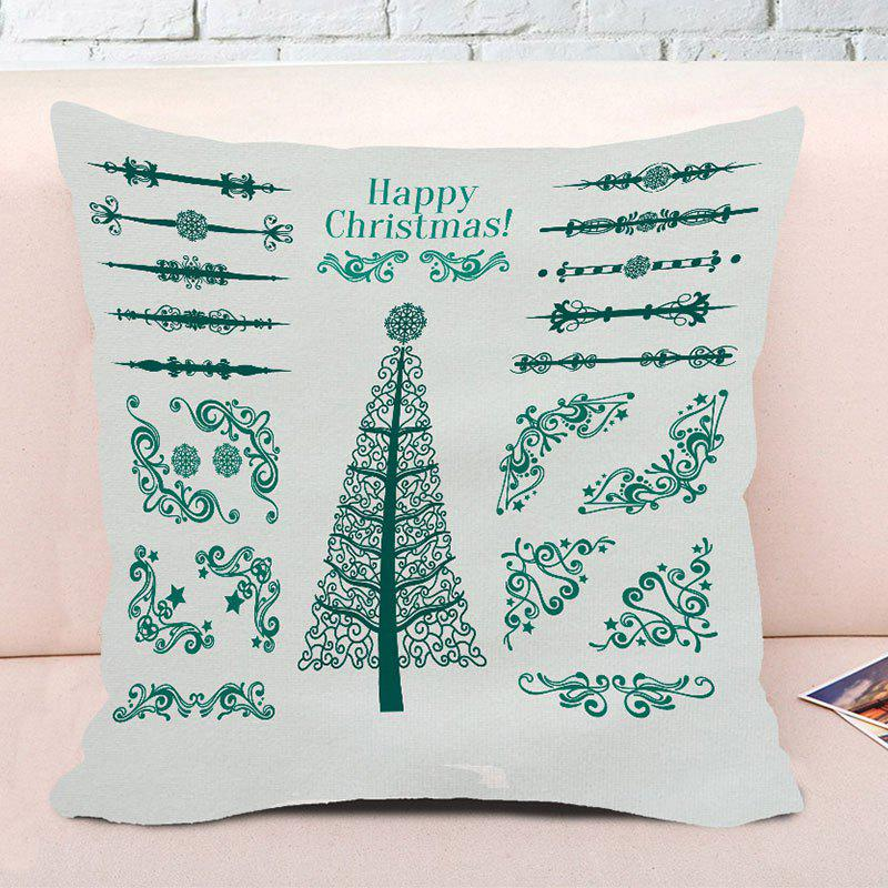 Happy Christmas Tree Printed Decorative Square Pillow Case - WHITE W18 INCH * L18 INCH