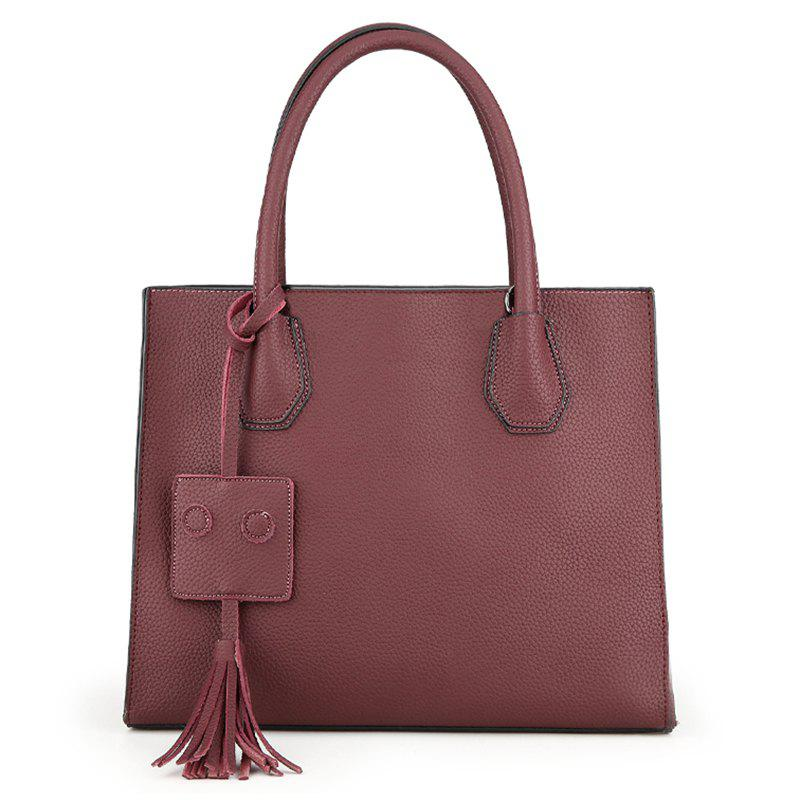 Faux Leather Tassel Handbag With Strap - WINE RED