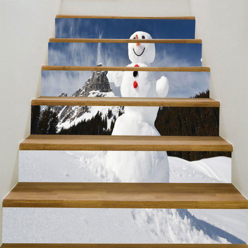Snowman and Snow Mountain Printed DIY Removable Stair Stickers spot light background snowman printed removable stair stickers