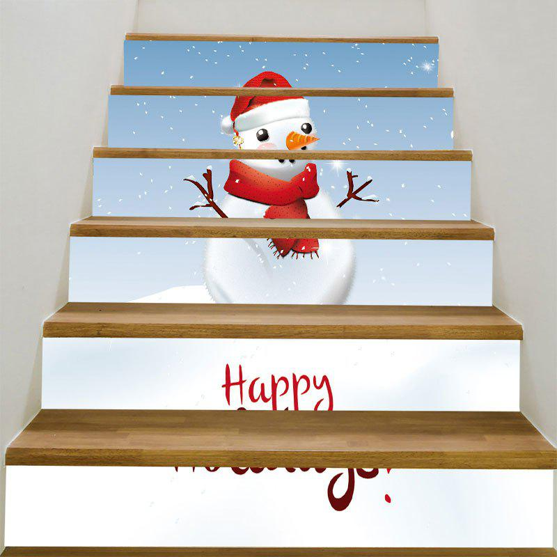 Branches Snowman Printed Decorative Stair Stickers spot light background snowman printed removable stair stickers