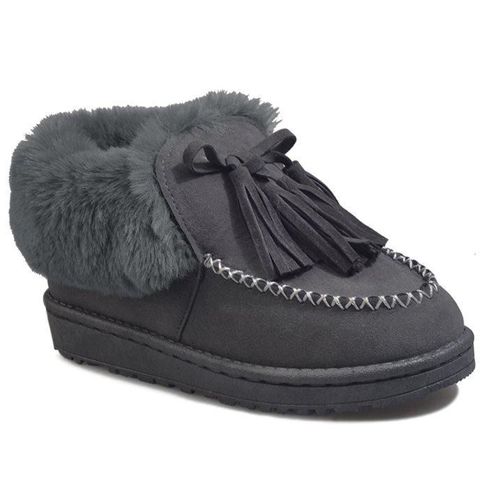 Faux Fur Stitch Tassels Ankle Boots - GRAY 40
