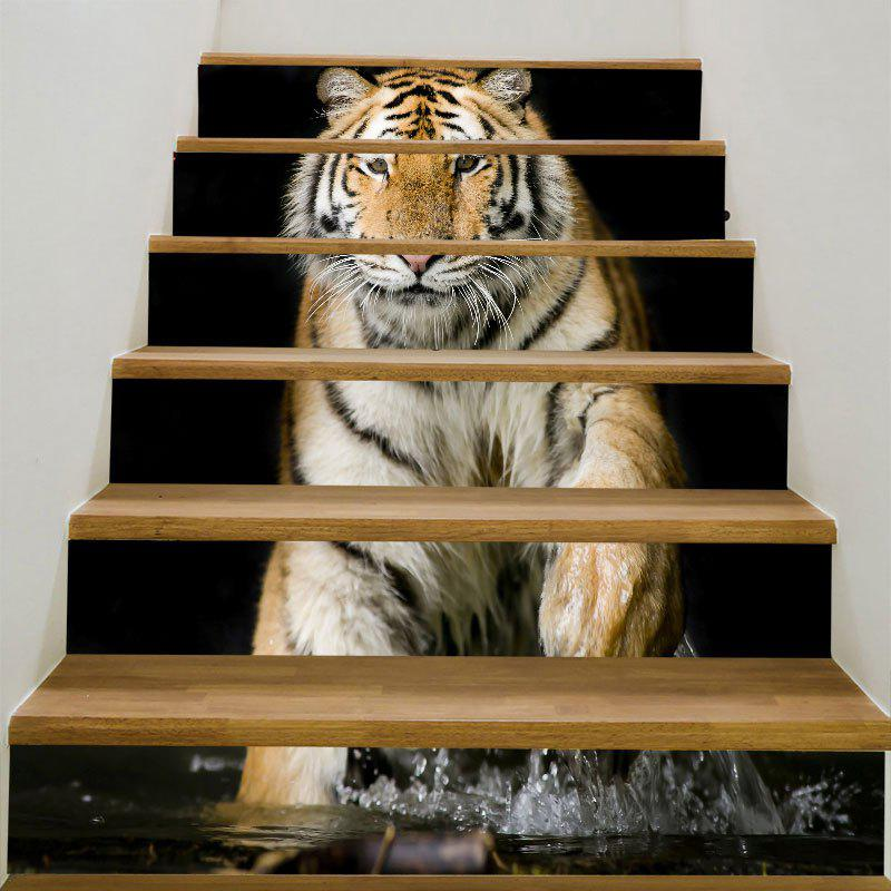 Removable 3D Tiger Printed DIY Stair Stickers - BROWN 6PCS:39*7 INCH( NO FRAME )