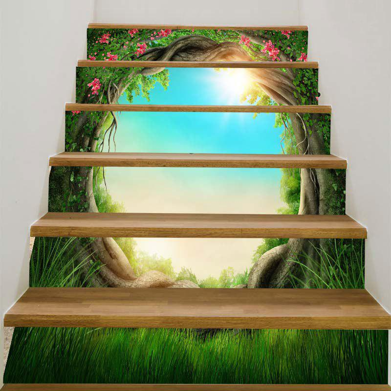 Tree Hole Sunlight Sky Pattern Stair Stickers - GREEN 100*18CM*6PCS