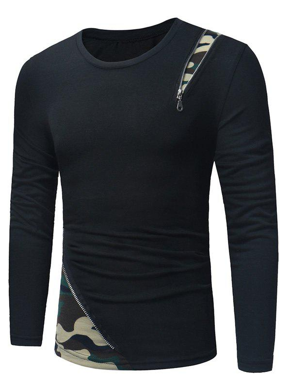Camouflage Zipper Panel Long Sleeve T-shirt - BLACK/GREEN XL