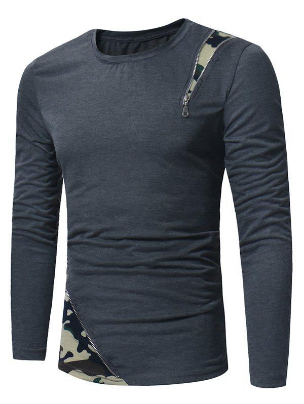 Camouflage Zipper Panel Long Sleeve T-shirt - DEEP GRAY 2XL