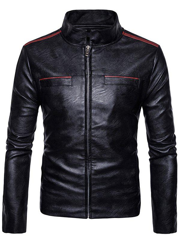 Edging Faux Leather Zip Up Jacket 234842511