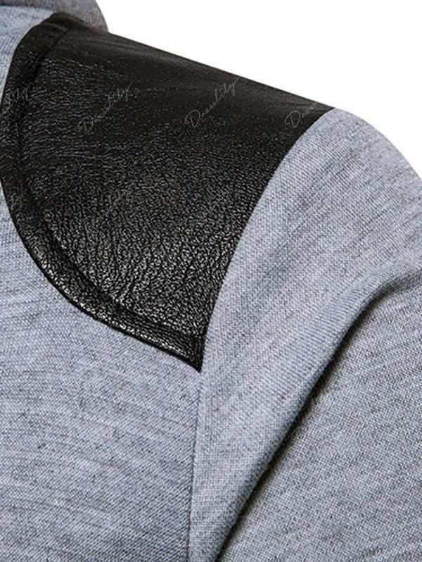 PU Leather Panel Zip Up Hoodie - LIGHT GRAY L