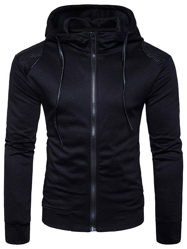 PU Leather Panel Zip Up Hoodie - BLACK M