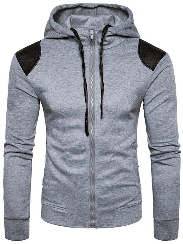 PU Leather Panel Zip Up Hoodie - LIGHT GRAY XL