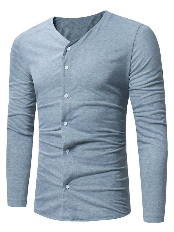 V Neck Button Up T-shirt - LIGHT GRAY M